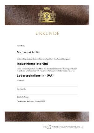 Ledertechniker Urkunde